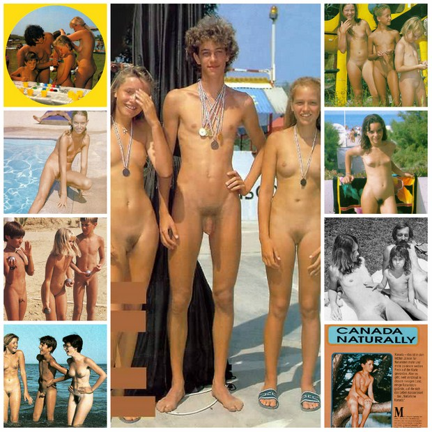 Family nudism retro photo, adults and young nudists