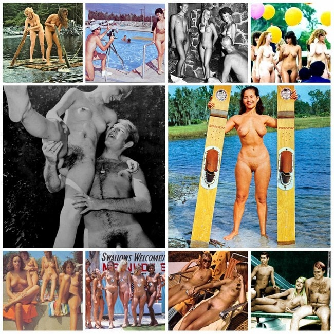 Retro photo adult and young nudists
