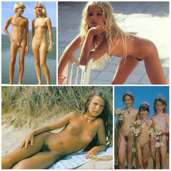 Young nudists beautiful retro photo