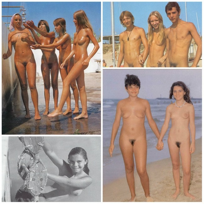 Vintage photo young nudism