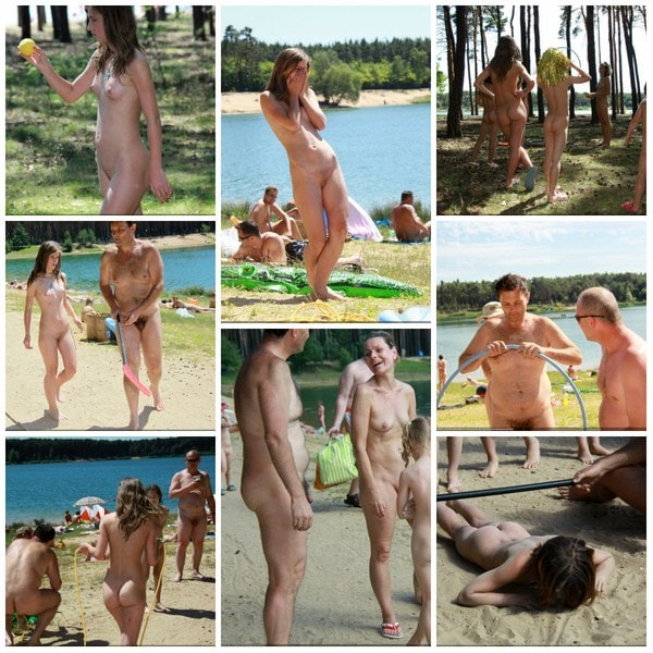 Family nudism photos summer vacation on the nature