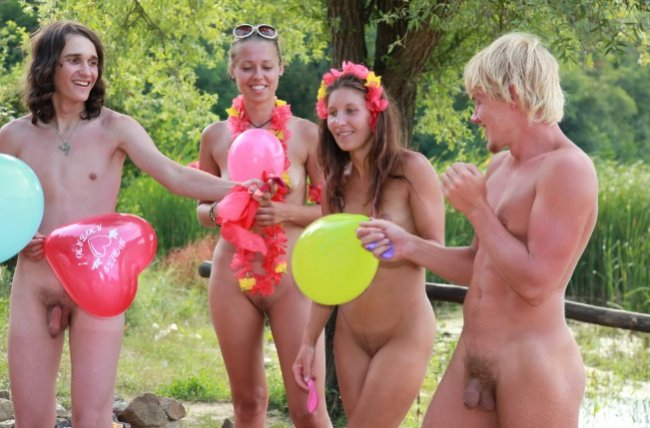 Young naturists photo on nature