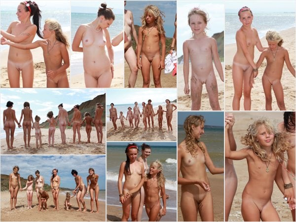 Photo family nudism on the sea in summer