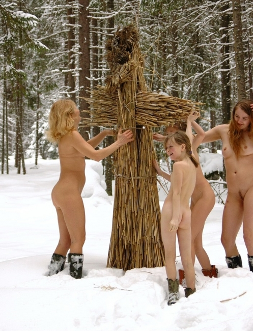 Photo collection of man and woman nudists on nature in the forest