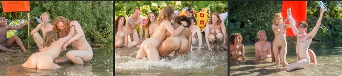 A group of guys and girls nudists in nature - funny naked games HD games and photo collection