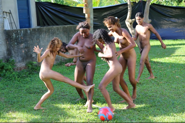 Tropical naked fun and active nudist entertainment